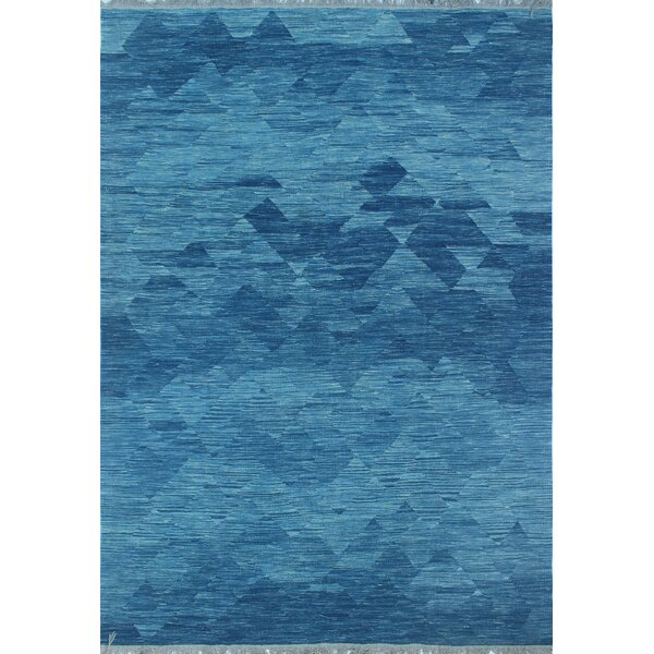 Ackworth Traditional Kilim Hand 100% Woven Wool Blue Area Rug by Bungalow Rose
